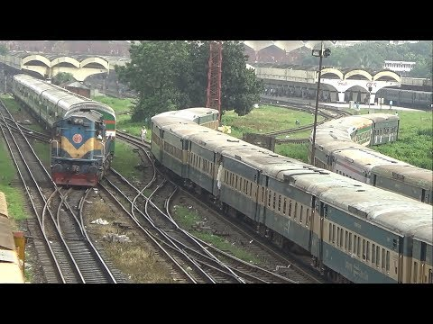 Trains Shunting at Dhaka Kamlapur Railway Station, Bangladesh