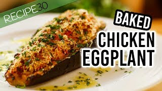Baked Eggplant with chicken vegetable stuffing