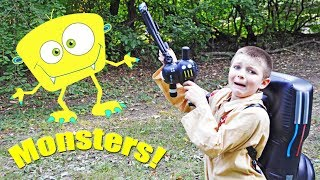 Monster busters featuring Sketchy Mechanic and Ghostbuster Kids! Silly scary kids video!