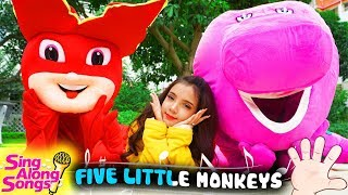 Barney And Friends Sing Along w/ Baby Five Little Monkeys Jumping On The Bed Simple Songs for kids 4