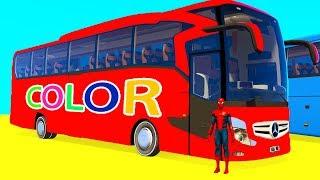 LEARN COLOR BUS w Fun Golf Cars - Superheroes for Kids Spiderman Cartoon 3D Animation