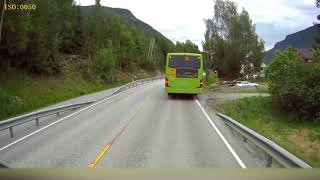 ORIGINAL: Dashcam Norway - Semi truck narrowly missing kids