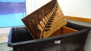 End grain cutting board with the New Zealand silver fern