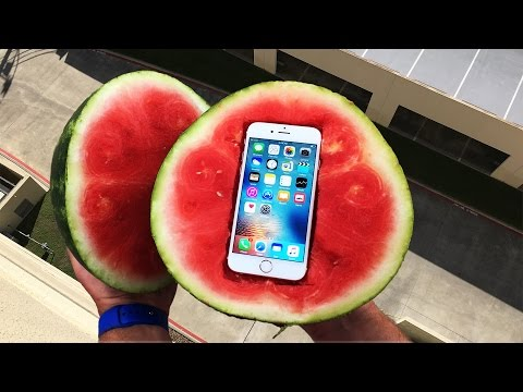 Can a Watermelon Protect iPhone 6s from 100 FT Drop Test GizmoSlip