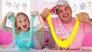 Nastya and papa Pretend Play Making Satisfying Colorful Glitter Glue Slime