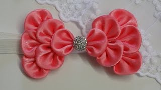 Download How to make kanzashi hair bow,Diy ribbon bow,baby headband tutorial 3Gp Mp4