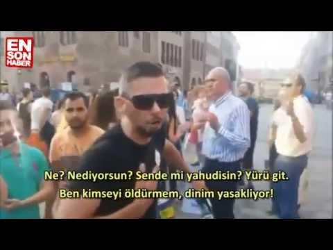 Tek başına İsrailli göstericilere kafa tutan Türk