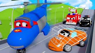 Carl le Super Truck -  La poursuite de Tyler, la vilaine voiture de course - Dessin animé de camions