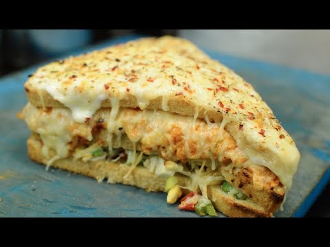 BIG TRIPLE LAYER Melting Cheese Sandwich UNLIMITED CHEESE Pasta Indian Street Food