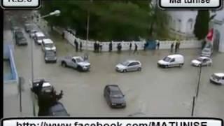 أمطار غزيرة جدا في بنزرت و تعطل حركة المرور في المدينة