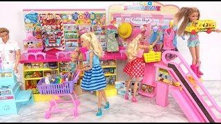 Barbie Shopping Mall! Toy Candy Dress Hat Grocery shopping باربي مول للتسوق Barbie Centro de compras