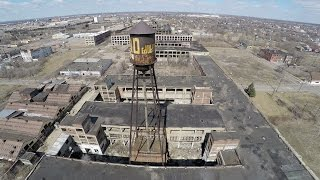 Drone Footage over Vacant Packard Plant (Detroit, MI) March 2015