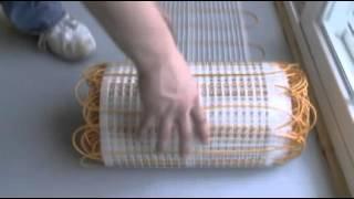 Thermosoft ThermoTile radiant floor heating mats installation.