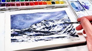 How to Paint a Snowy Mountain with Watercolours - BEGINNER PAINTING IDEAS!