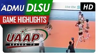 UAAP 78 WV: DLSU vs ADMU Game Highlights