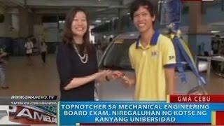 Topnotcher sa mechanical engineering board exam, niregaluhan ng kotse ng kanyang unibersidad