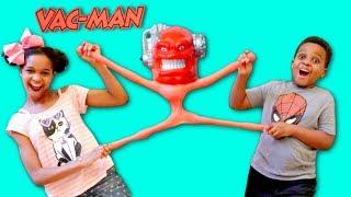 GIANT VAC MAN vs Shiloh and Shasha - STRETCH ARMSTRONG ENEMY! - Onyx Kids
