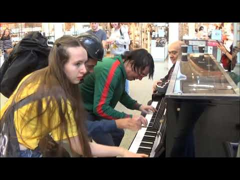Teenage Girl Rocks The Public Piano. Dudes Gather To Watch