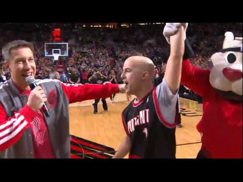 Blazers Fan wins new car with half court shot! (during blowout win vs Golden State Warriors)