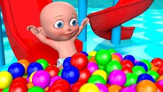 Learn Colors as the Dancing Baby slides down a Magic 3D slide to a ball pit filled by the fun truck.
