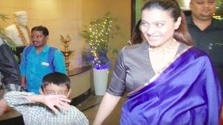 Kajol's son Yug HIDES HIS FACE while mom happily poses | Video