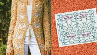 غرزة الأناناس بالكروشيه. من أكثر الغرز أستخداما في البلوزات والمفارش crochet pineapple