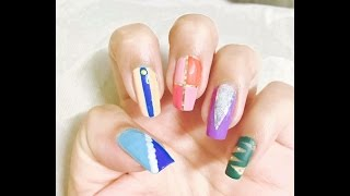 Scotch tape nail art..