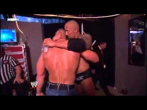 John Cena and The Rock Hug backstage after their match