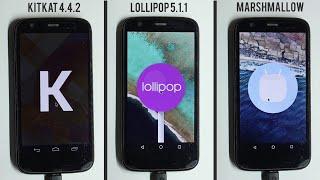 Marshmallow 6.0 vs Lollipop 5.1.1 vs Kitkat 4.4.2 Performance Benchmarks+App opening Speed Test
