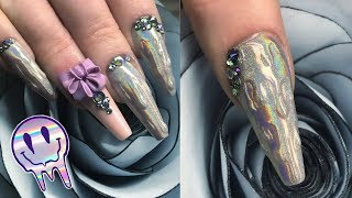 Melting Holographic Chrome - Drip Effect Nail Design