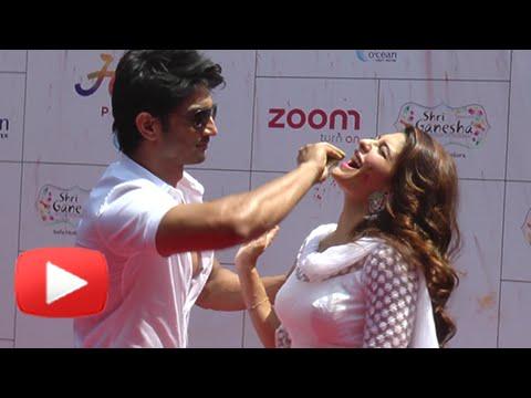 Hot Jacqueline Fernandez & Sushant Singh Rajput Play Holi | Zoom Holi Party 2016