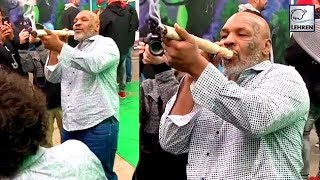 Mike Tyson Filmed Smoking A Foot Long Joint At A Marijuana Festival