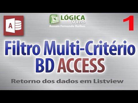 Video 85 - Parte 01 - Excel VBA - Filtro Multicritério com BD Access e consulta SQL