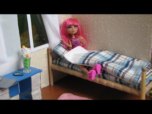 Как кровать сделать кровать для куклы видео