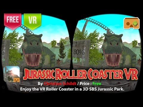 Jurassic Roller Coaster VR Google Cardboard - Enjoy the VR Roller Coaster in a 3D SBS Jurassic Park
