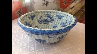 #1026 Мастер-класс с Ниной Корзинка из газет DIY Newspaper Basket Weaving Tutorial ENGLISH SUBTITLES