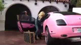 LUXUR AUTOS Paris Hilton rides her all pink Bentley in Beverly Hills with her favorite Chihuahua