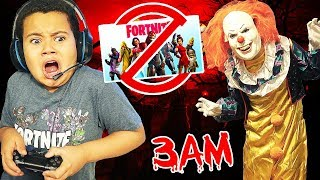 10 Year Old Little Kid Plays Fortnite At 3AM SNEAKING While GROUNDED! **GETS SCARED BY SCARY CLOWN**
