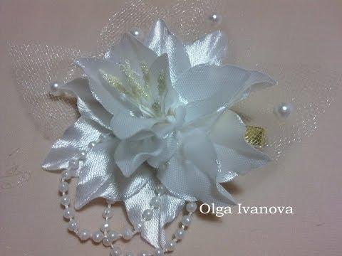 Цветок канзаши flower kanzashi - маленькая лилия Ч.2 - PlayLeeTs Mobile * Play All Youtube Videos
