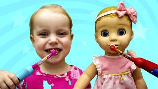 Baby Doll Morning Routine. Gaby and Alex pretend play video