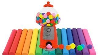 Modelling Clay Gumball Machine Creative Fun for Kids with Play Dough DIY RainbowLearning