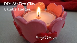 Terracotta Air Dry Clay Hearts Candle Holder
