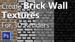 Create Brick Wall Textures - Displacement , Bump , Reflection