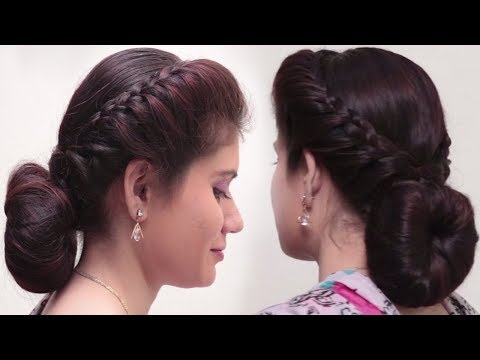 2 Quick & Easy Bubble Bun Hairstyles for saree Simple Bridal hairstyle for long hair Tutorial