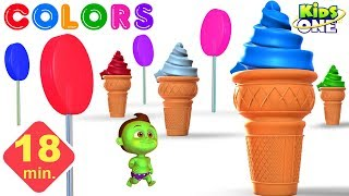 GREENY KIDDO Learn COLORS with GIANT Ice Cream & LOLLIPOP for Kids - KidsOne