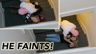 FELL DOWN STAIRS PRANK! (HE FAINTS)