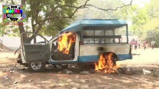Les étudiants assiégés mettent en fuite les policiers et brûlent un véhicule abandonné sur le campus