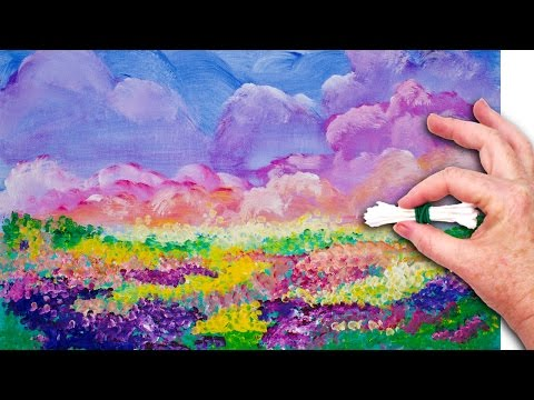 Flowers cotton swabs painting technique for beginners for Easy canvas paintings for beginners step by step