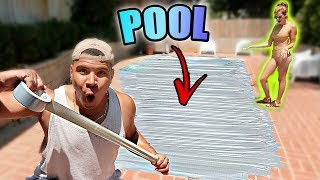 DUCT TAPE POOL PRANK ON GIRLFRIEND!! (BAD IDEA)
