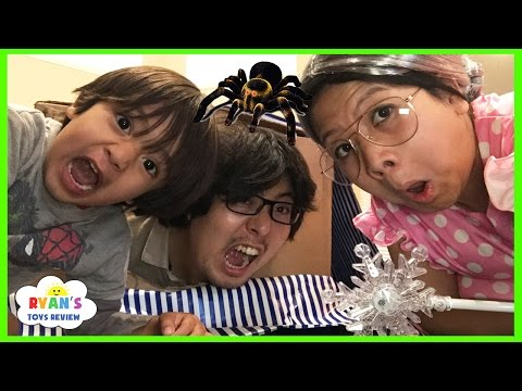 CLUMSY GRANDMA magic wand transform! Daddy trap inside a box spider attack pretend play funny skit